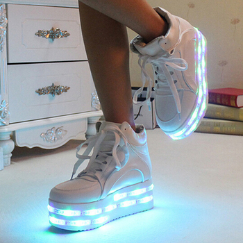 Hot selling new design women high heel shoes led light platform shoes
