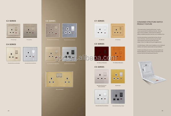 whole kind of switch socket, pc and aluminum panel switch