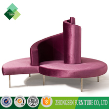 Foshan furniture factory antique modern wedding big red round lounge sofa chair,lobbyn furiture round shape chaise sets