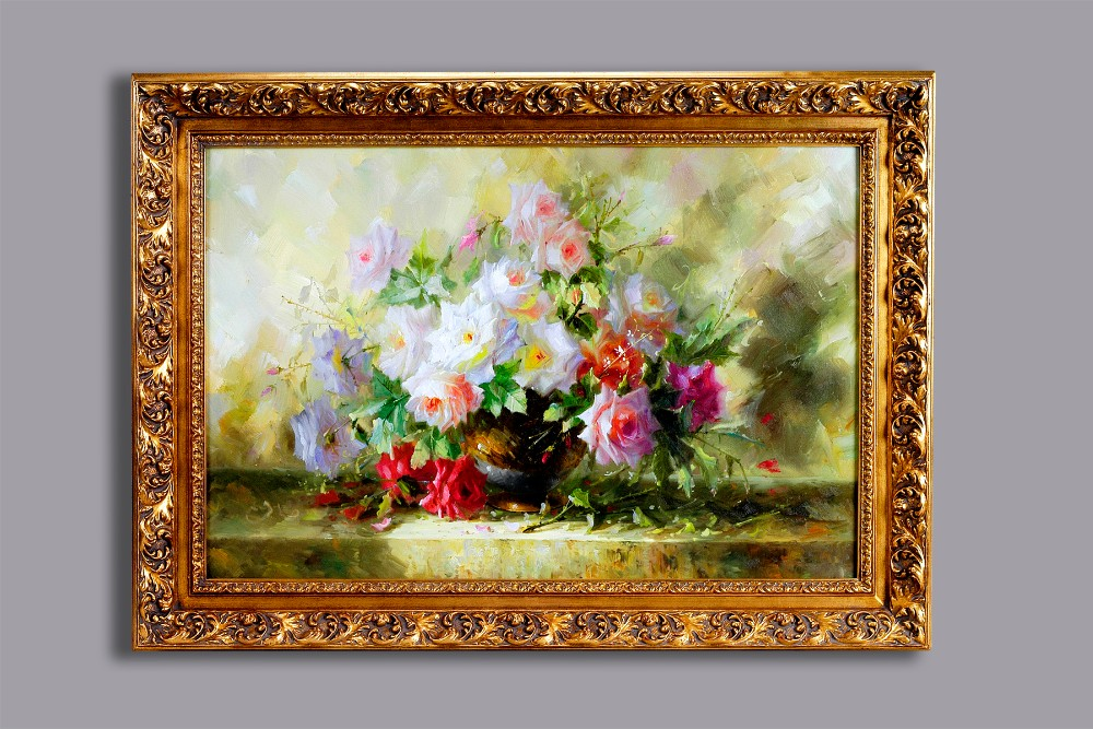 60102 Antique Frame for Handmade Flower Oil Painting on Canvas