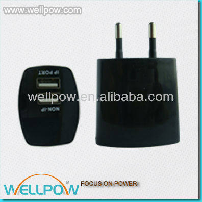 Dual USB travel Charger with 2.1A Output for MP3 player/cellphone/ ebook/ GPS