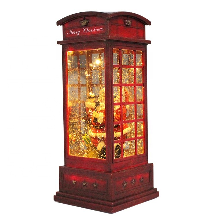 Polyresin LED Santa insert telephone booth Xmas indoor <strong>Decor</strong> with water filled