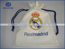 white calico drawstring bags with logo provide