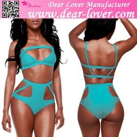 japan mature Blue Sexy Hollow out High-waisted hot bikini swimsuit