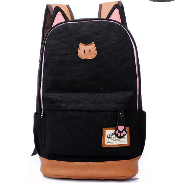2016 Campus Girl Women Cartoon Cat Ear Backpack Schoolbag Canvas Backpacks Travel  Bags Rucksack