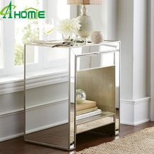 modern Alexa bedroom Champagne color glamorous 1 drawer Mirrored glass Nightstand
