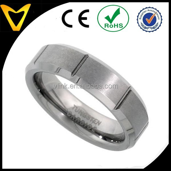 Top Quality Tungsten Carbide Ring, Mens Wedding Ring Tungsten, 6MM Tungsten Ring Wedding Band Vertical Grooves Beveled Edge