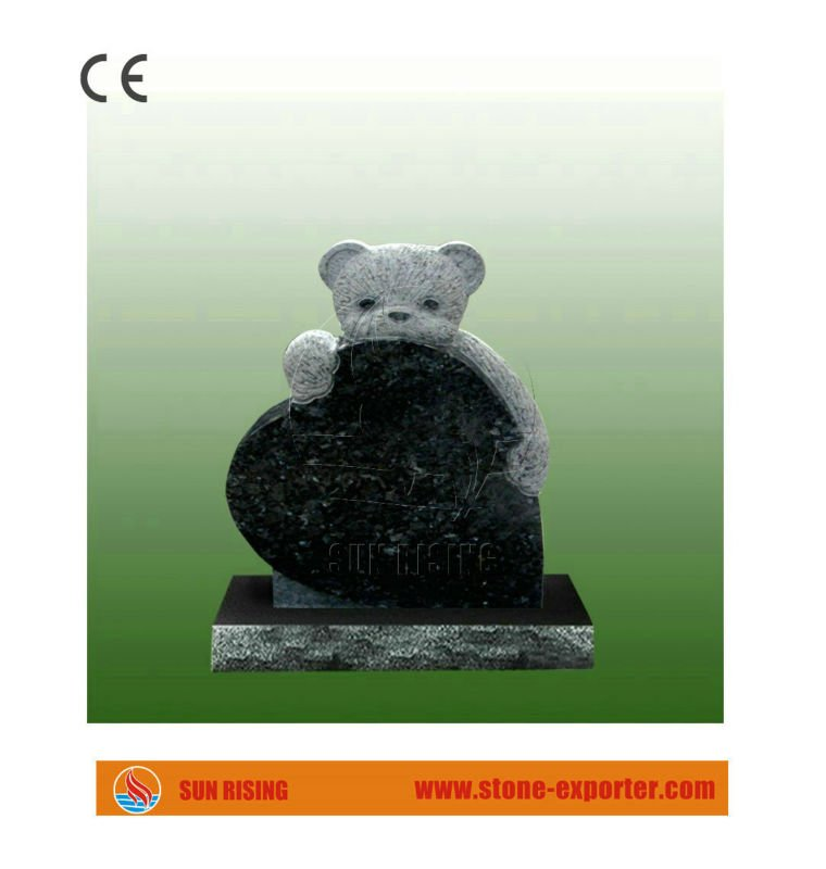 Bear Hug Heart Granite Pet Monument