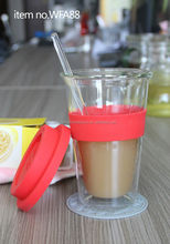 Glass double wall coffee cup with cover and silica gel,keep warm