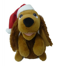 Singing Dog with Christmas Hat Polyester Musical Animatronic Plush Toy Christmas Collectible