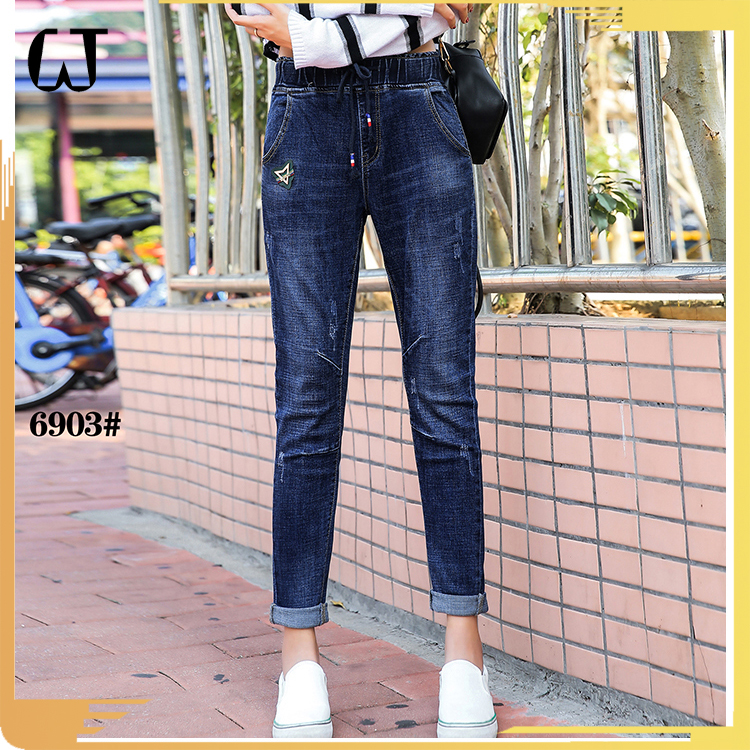 L6903#new models elastic waistband ladies slubby legging ripped hem cuff trimming denim women pants skinny jeans custom service