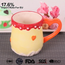 11 oz colorful hand painted ice cream ceramic coffee mug with heart handle