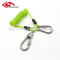 5.0mm steel coated PU Spring tool Safety steel coil Lanyard with Carabiners