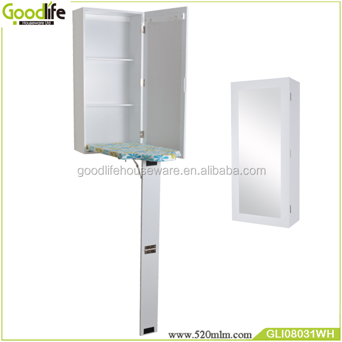 White iron folding cabinet with mirror