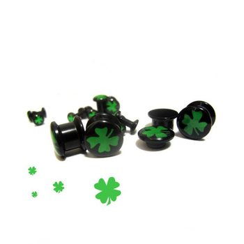 Hot sales flesh tunnel piercing acrylic clover ear plugs