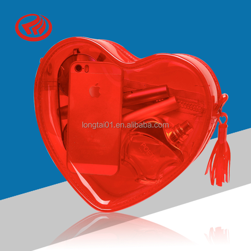 customize printed red color clear heart shape pvc zipper pouch