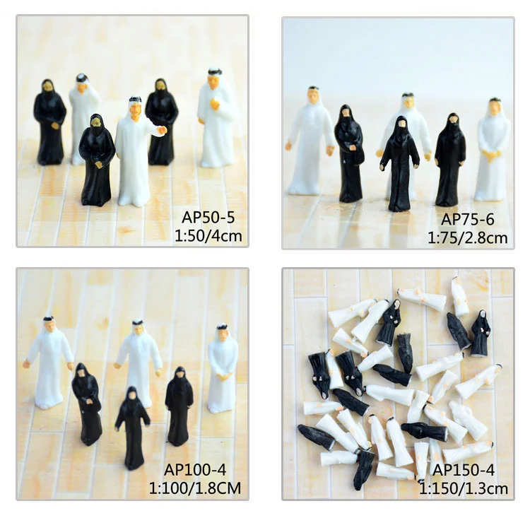 ho hand painted plastic arab scale model figures for architectural building model