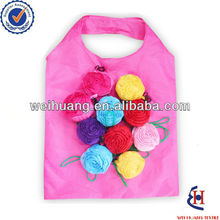 colorful rose flower folding shopping bag