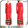 muslim bridal wedding dress evening red new design printed v neck long sleeve maxi dresses