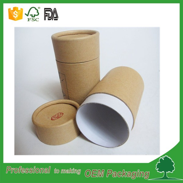 custom design printing 3 piece telescope tube kraft round box recycled material paper tube with cap lid