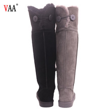 AN-CF-112 Free Samples One Button Genuine Leather TPR Sole Over The Knee Womens Flat Boots Snow Boots Real Fur