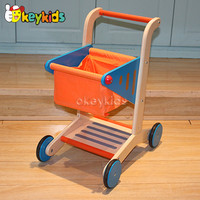 2016 wholesale baby wooden shopping cart toy, high quality kids wooden shopping cart toy, cheap wooden shopping cart toy W16E016