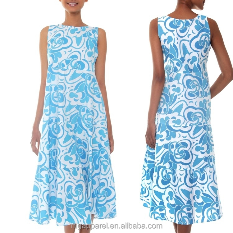 2015 latest batik casual summer dress blue cotton sleeveless maxi dress batik indonesia dress wholesale