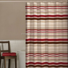 100% Polyester Red Striped Jacquard Fabric Shower Curtain