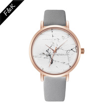New Popular High Quality Marble dial Lady Watch PVD Gold Rosegold Luxury Stylish Genuine Leather Elegant Woman Watch
