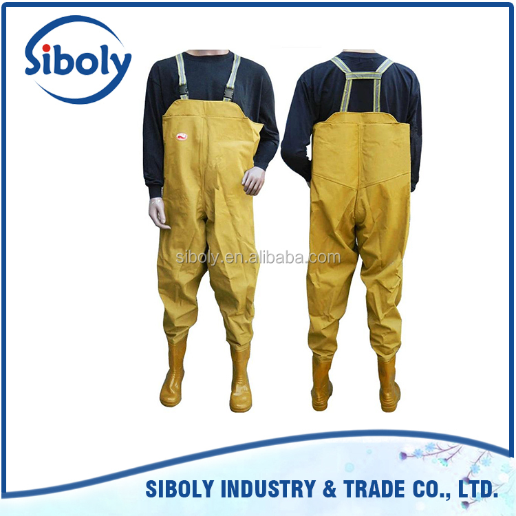 cheap waterproof pvc chest high waders being used as fish farming work wear