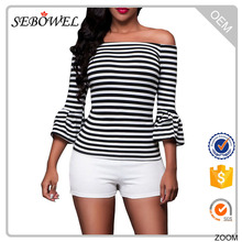 Fashion design black white strips off-shoulder cheap lady blouse & top
