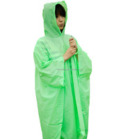 Manufacture PVC Rain Poncho Waterproof Green Rain Coat For Adult Eco-friendly Outdoor Camping PVC Rain Poncho