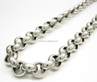 Stainless Steel High Polished Welded Gold Circle Rolo Chain 24 Inch 8mm