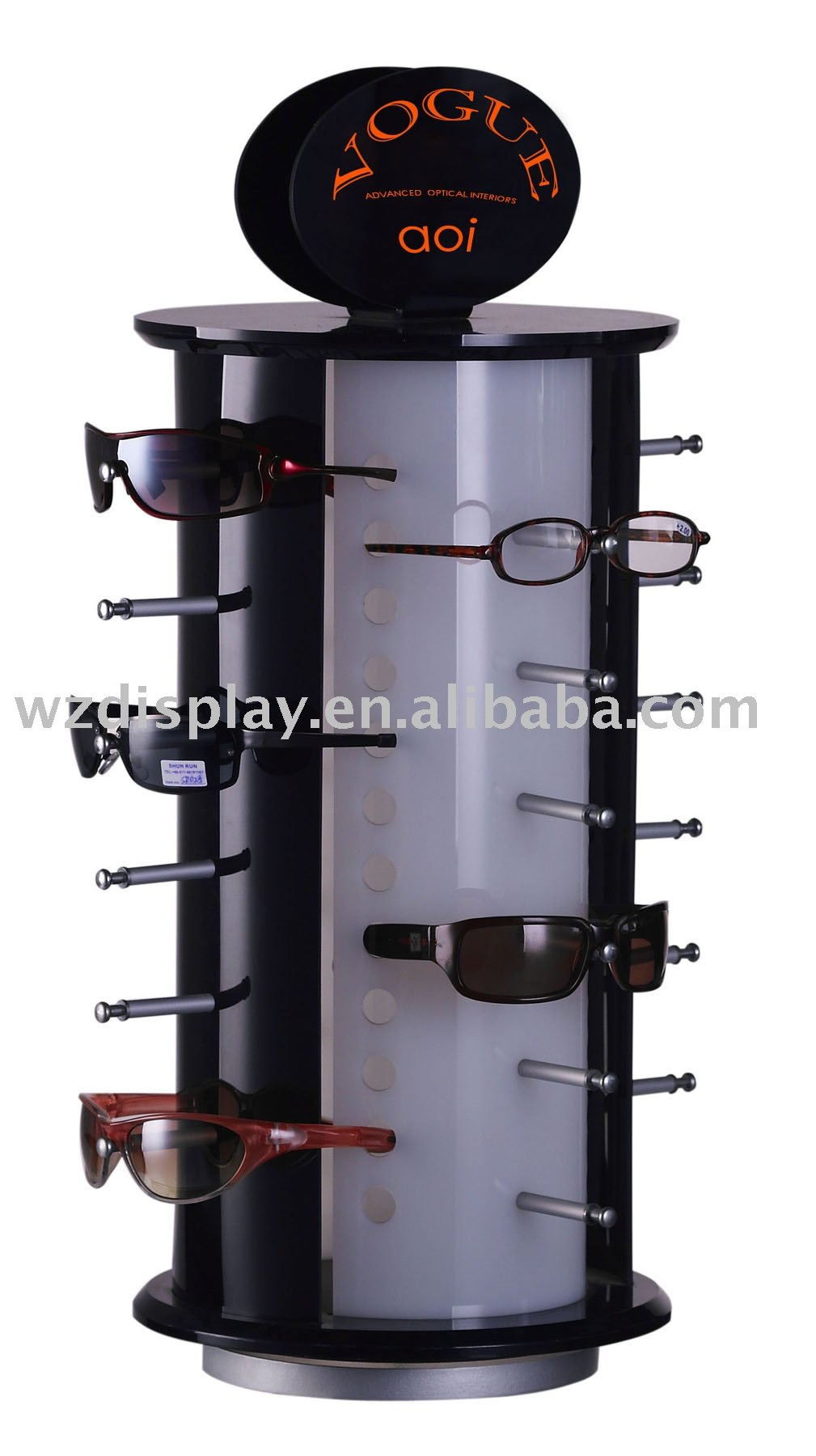 acrylic revolving sunglasses display stand; counter eyeglasses display stand;rotatable glasses display countertop