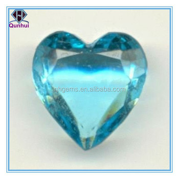 Charming bling heart shaped blue gemstone
