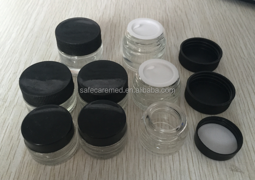 5ml 7ml 10ml cosmetic cream glass jars with black lids