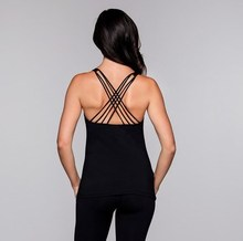 Hot selling strappy back sexy deep cut yoga gym tank top