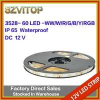SV Led Strip Light SMD3528 60Led/m White waterproof IP65 Tape Light DC 12V 5 Meters High Brightness with Adhesive