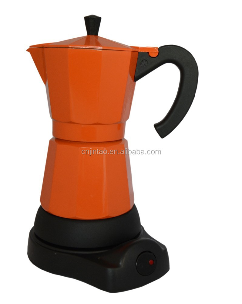 Aluminum moka coffee maker electric espresso maker plastic base electrical coffee maker