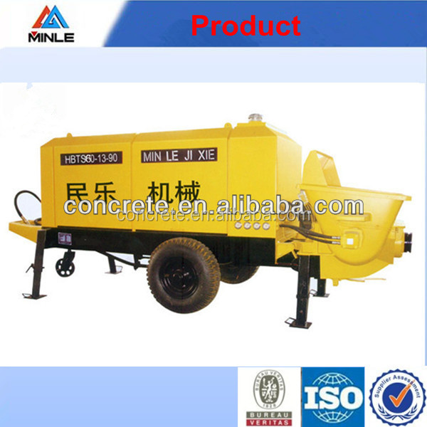 trailerable diesel concrete pump has 15m3/h with the best power,pumping,electric control, lubrication,hydraulic system