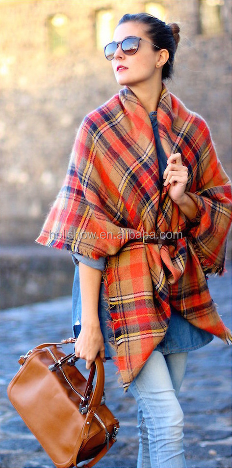 New Design Fashion Woman Orange Plaid Cashmere Square Shawl