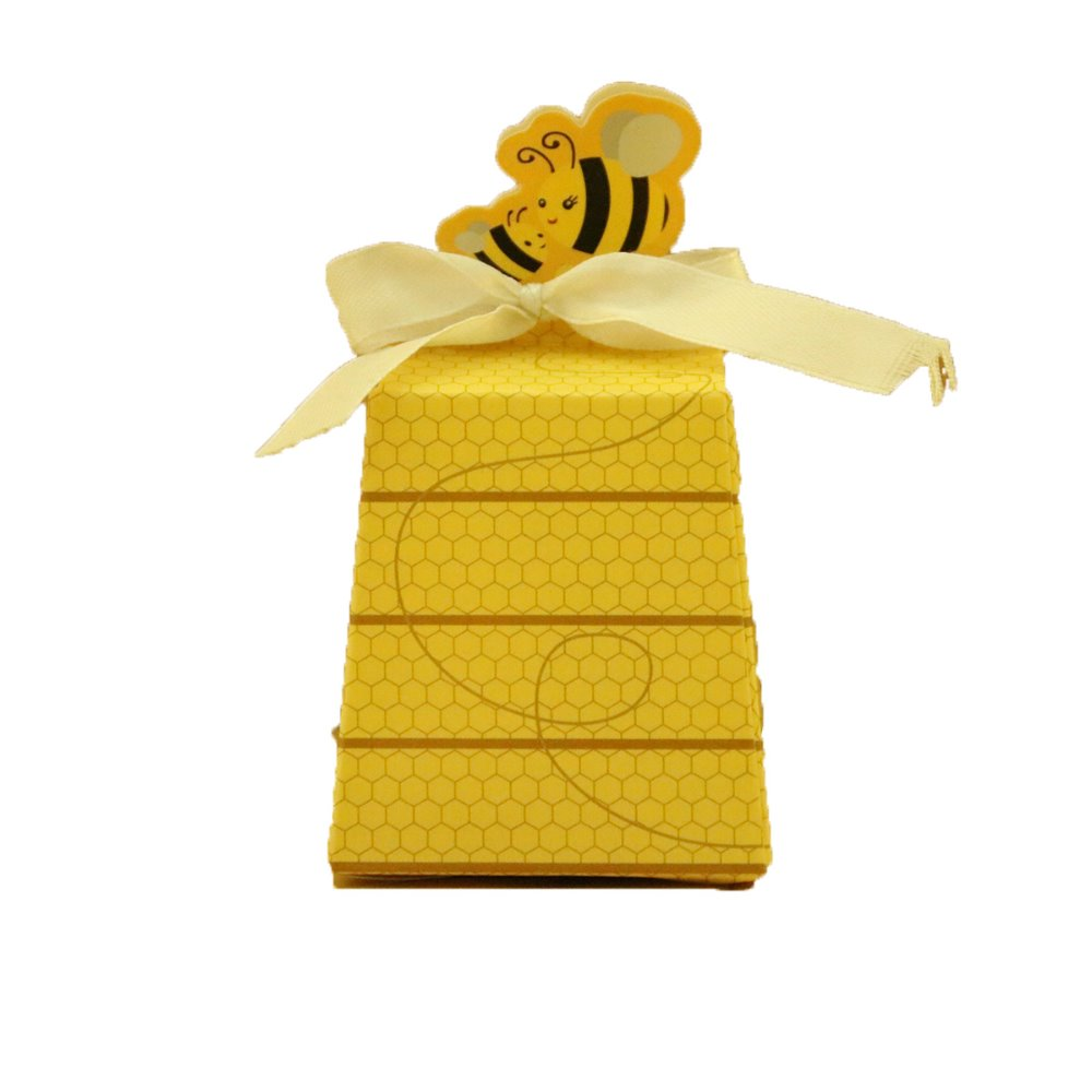 Hot sale little yellow bee paper candy box baby shower favor boxes