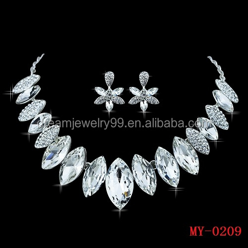 New !! Leaf Crystal Imitated Gemstone Bridal Wedding Jewelry Sets Choker Necklace Earrings for Party Gift