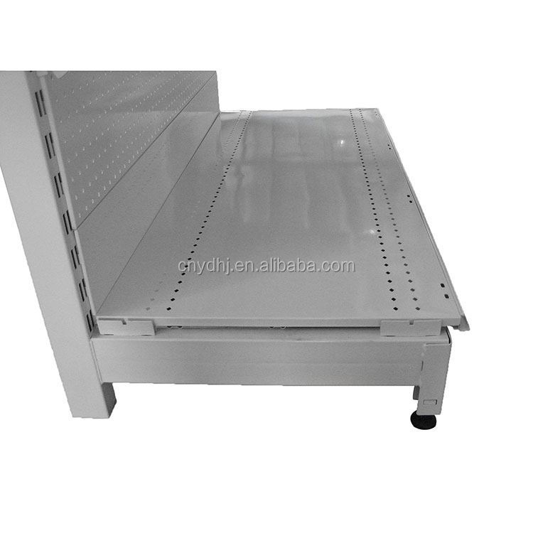 New style adjustable metallic racks perforated back panel many colors hypermarket shelf