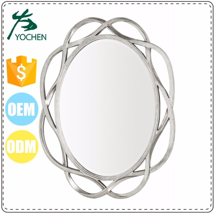 silver metal shaped oval mirror frame for decor