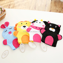 Animal birth soft children cotton bath gloves bath mitt toy for baby