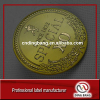 Personalize High Quality Circle Shape Embossed Gold Foil Logo Type Custom Adhesive Aluminium Wine Label