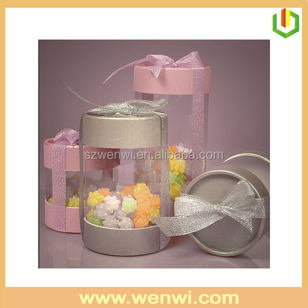 Fashion design paper round box with clear plastic cover