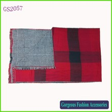 Latest new za Winter Women big oversized plaid reversible stole scarf soft red