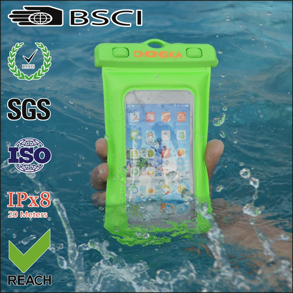 Fancy Green Waterproof Pouch Dry Bag Case with Armband for Cell Phone Universal